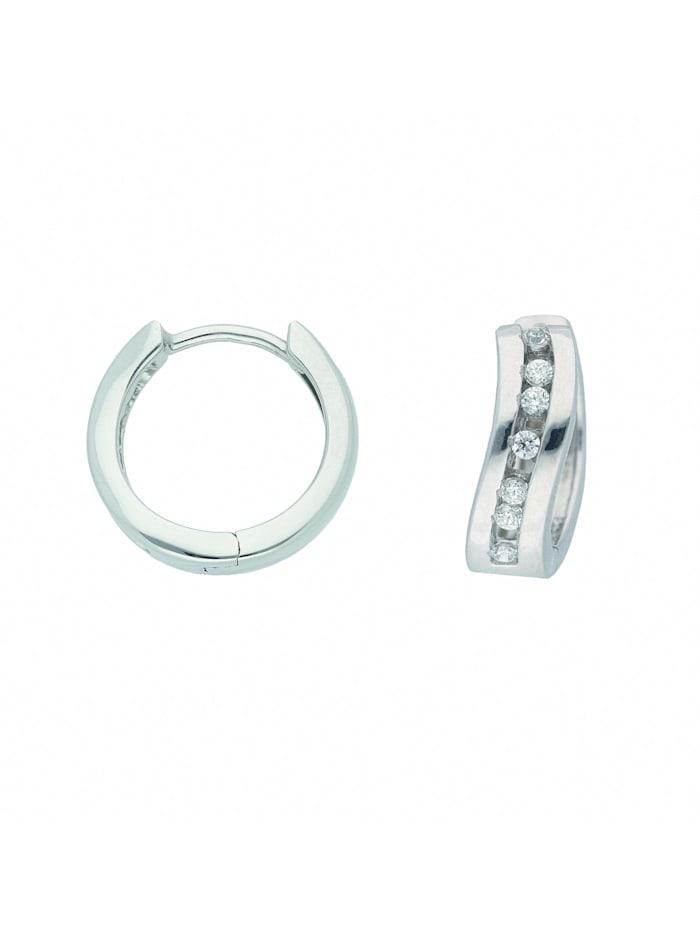 1001 Diamonds Damen Goldschmuck 333 Weißgold Ohrringe / Creolen mit Zirkonia, silber