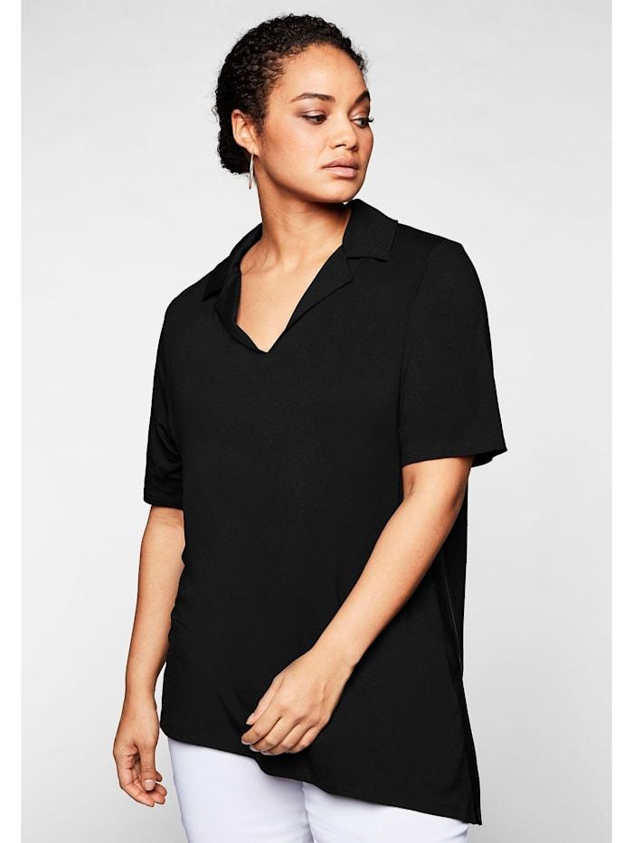 Sheego Shirt mit seitlichen Streifen, schwarz