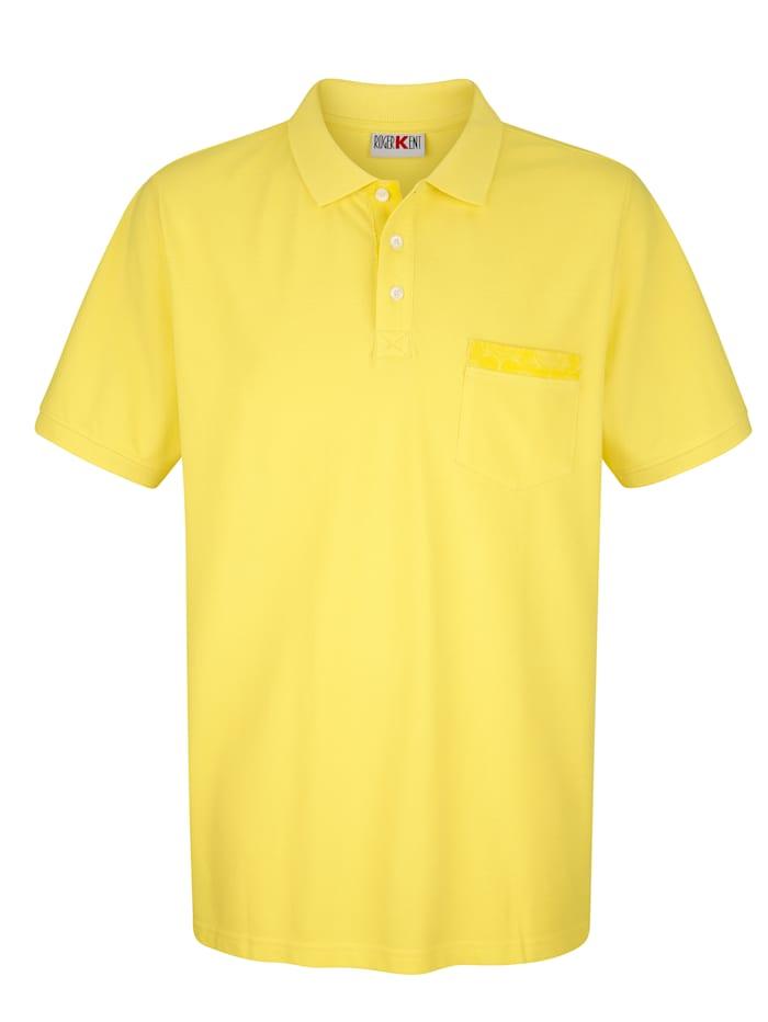 Roger Kent Poloshirt mit Paisleydruck-Details, Gelb