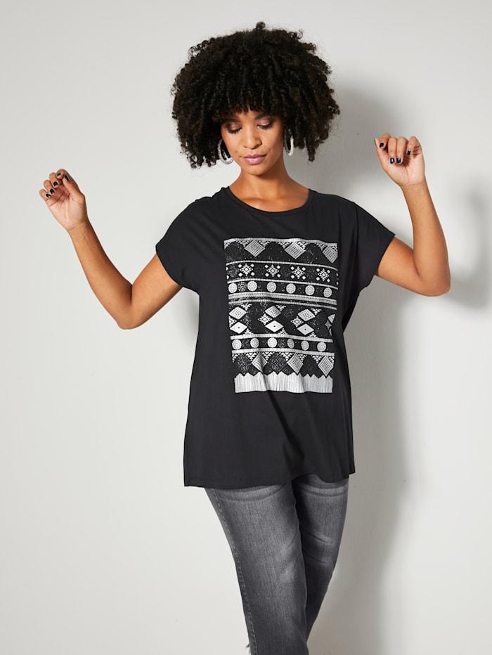Angel of Style Shirt met zilverkleurige folieprint, Zwart/Zilverkleur