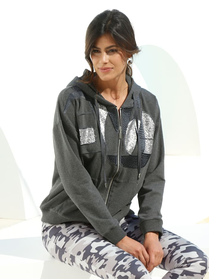 AMY VERMONT Sweatjacke mit grafischem Muster aus Pailletten, Grau