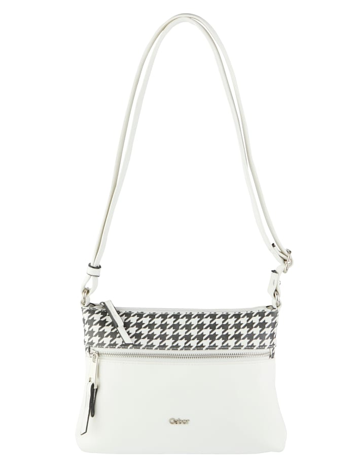 Gabor Shoulder bag with a houndstooth print, White