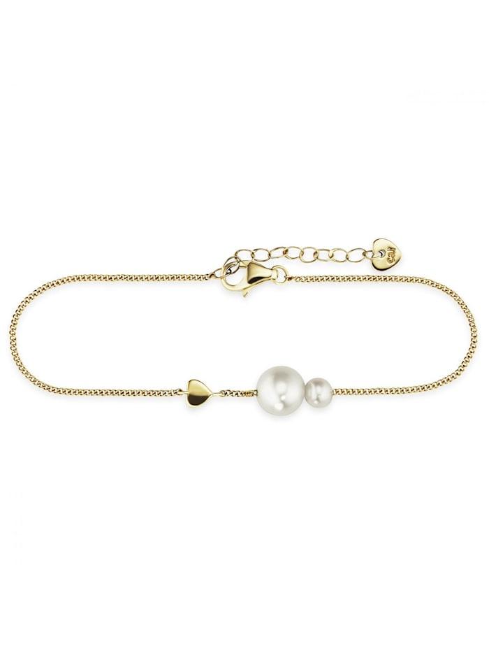CAI Armband 925/- Sterling Silber Süßwasserzuchtperle 16+3cm vergoldet, gelb