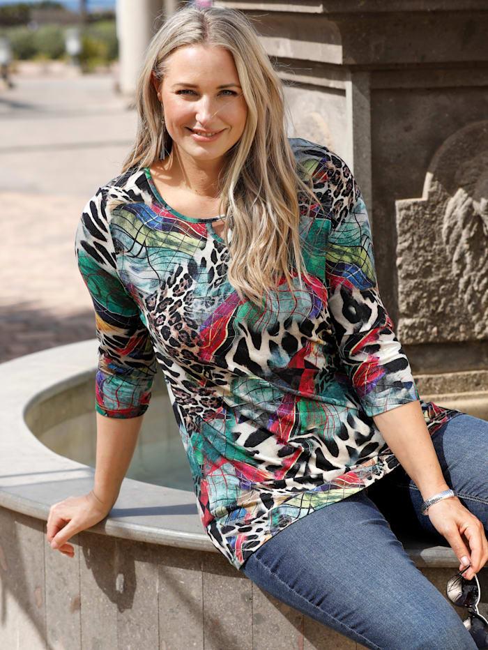 MIAMODA Shirt mit modischem Allovermuster, Schwarz/Rot/Grün
