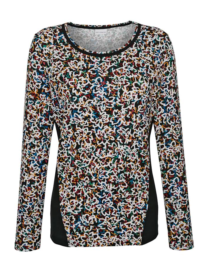 AMY VERMONT Shirt im allover-Druck mit unifarbenen Einsätzen, Multicolor