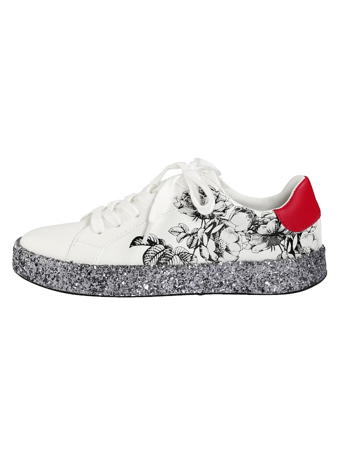 Sneaker mit Glitterplateaulaufsohle