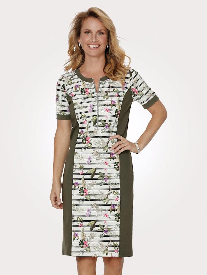MONA Robe en jersey à ravissant jeu de motifs, Olive/Blanc/Lavande