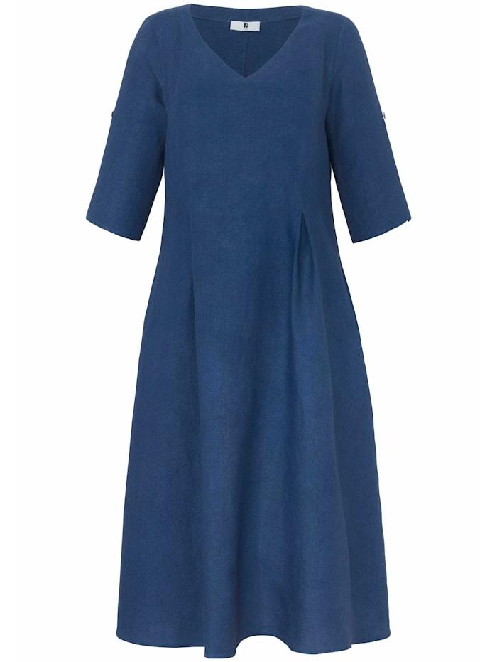 Anna Aura Abendkleid Kleid mit 3/4-Arm aus 100% Leinen, meerblau