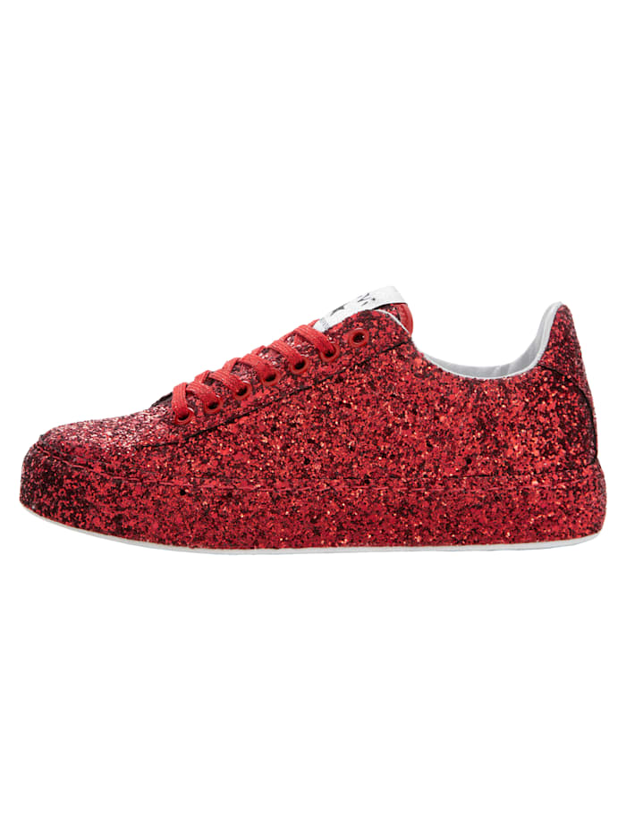 Sneaker van fonkelend glittermateriaal
