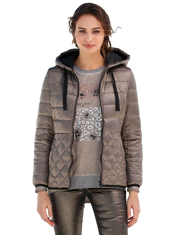 AMY VERMONT Gewatteerde jas met verschillende stiksels, Taupe