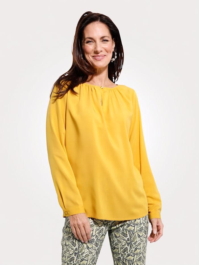 MONA Schlupfbluse mit modischer Raffung, Gelb