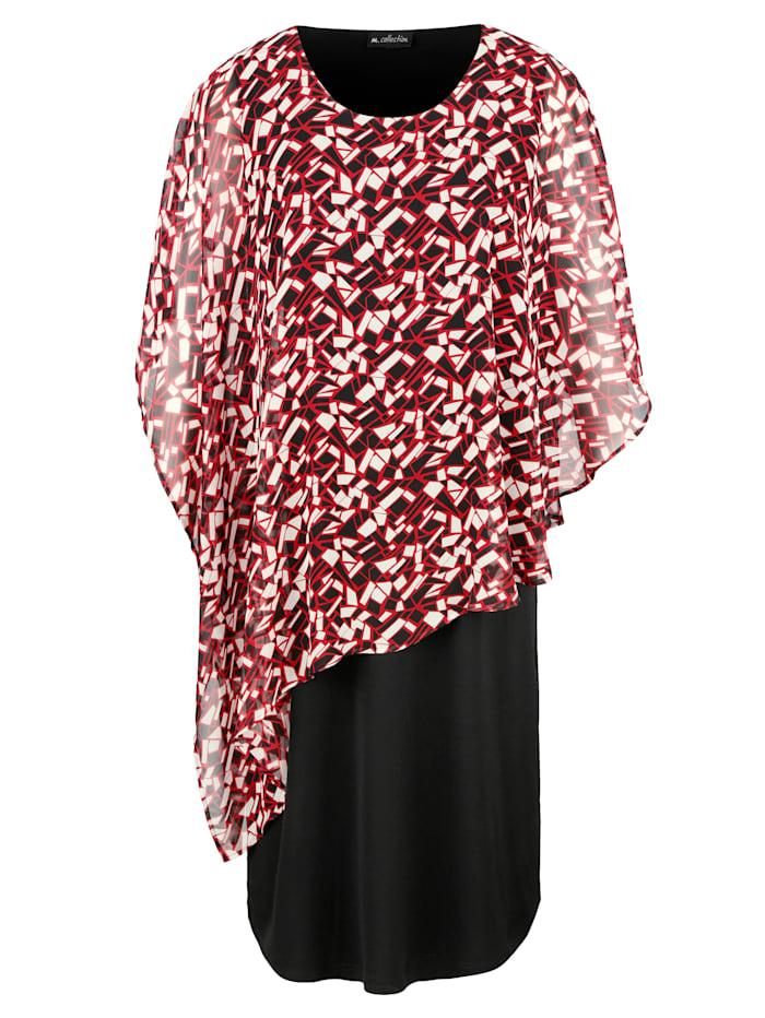 Kleid mit bedrucktem Chiffonüberwurf
