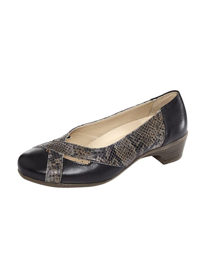 Naturläufer Court shoes with snake print detail, Black