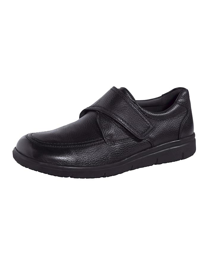 Solidus Chaussures basses à scratch avec semelle intérieure à coussin d'air et mémoire de forme en liège, Noir