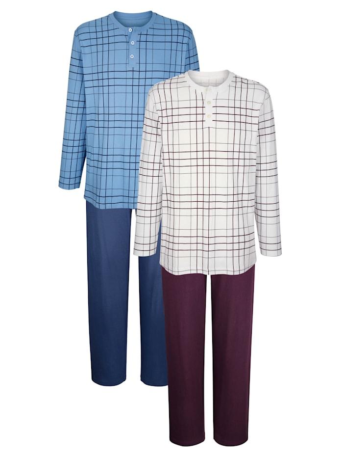 Roger Kent Pyžamy, Modrá/Baklažánová