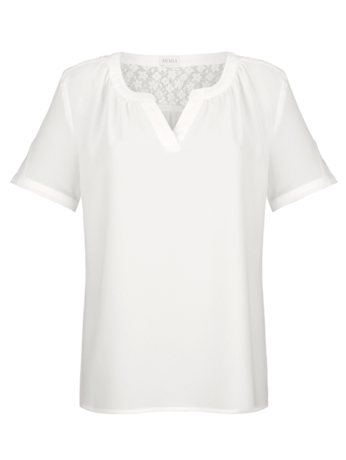 Pull-on blouse with lace