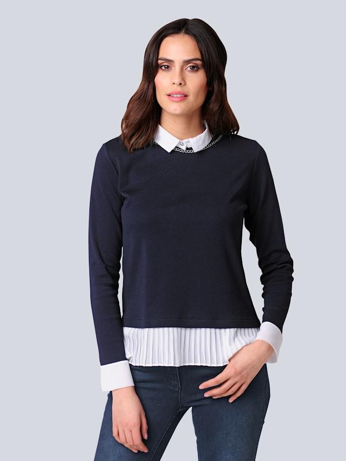 Alba Moda Shirt mit Bluseneinsatz, Marineblau/Off-white