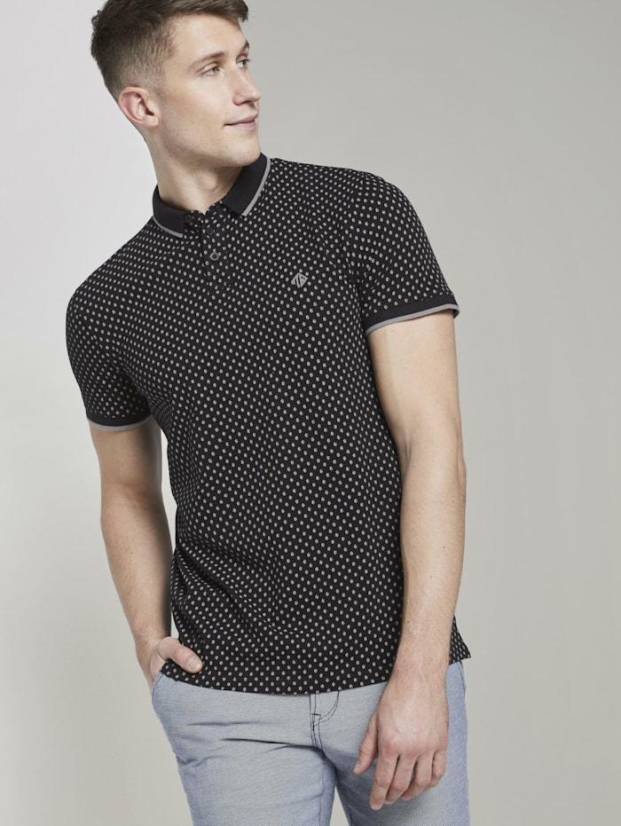 Tom Tailor Denim Poloshirt mit Alloverprint, black small diamond dot print