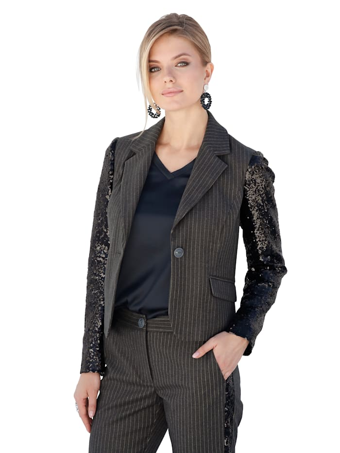 AMY VERMONT Blazer met trendy materialenmix, Antraciet/Wit