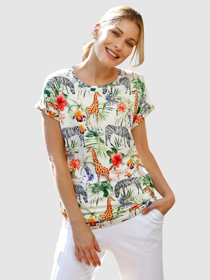 Laura Kent Shirt mit modischem Tier- und Jungledruck, Weiß
