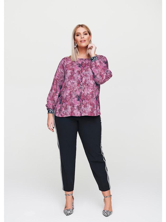 Rock Your Curves by Angelina K Blusen-Shirt mit Seitenschlitzen, Pink/Violett