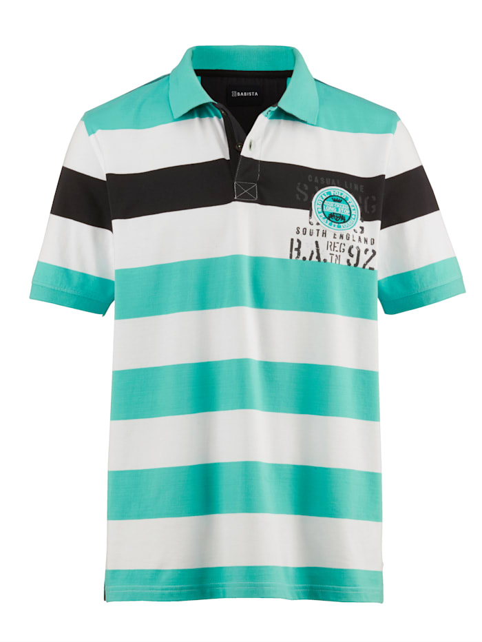 BABISTA Poloshirt in Single Jersey, Weiß/Mintgrün