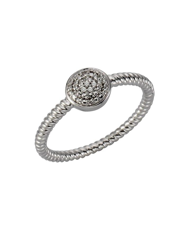 Celesta Ring 925/- Sterling Silber Diamant weiß Diamant Strukturiert 0,02 925/- Sterling Silber, Silbergrau