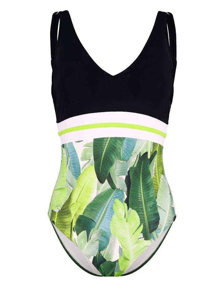 Sunflair Maillot de bain 1 pièce à imprimé feuilles, Vert
