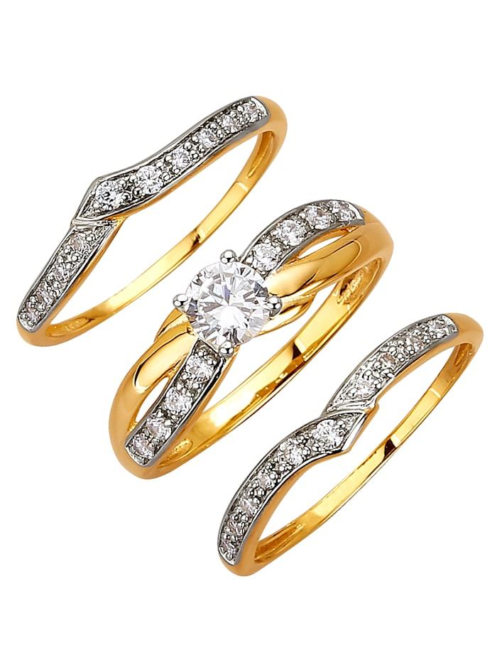 Set van 3 ringen met zirkonia