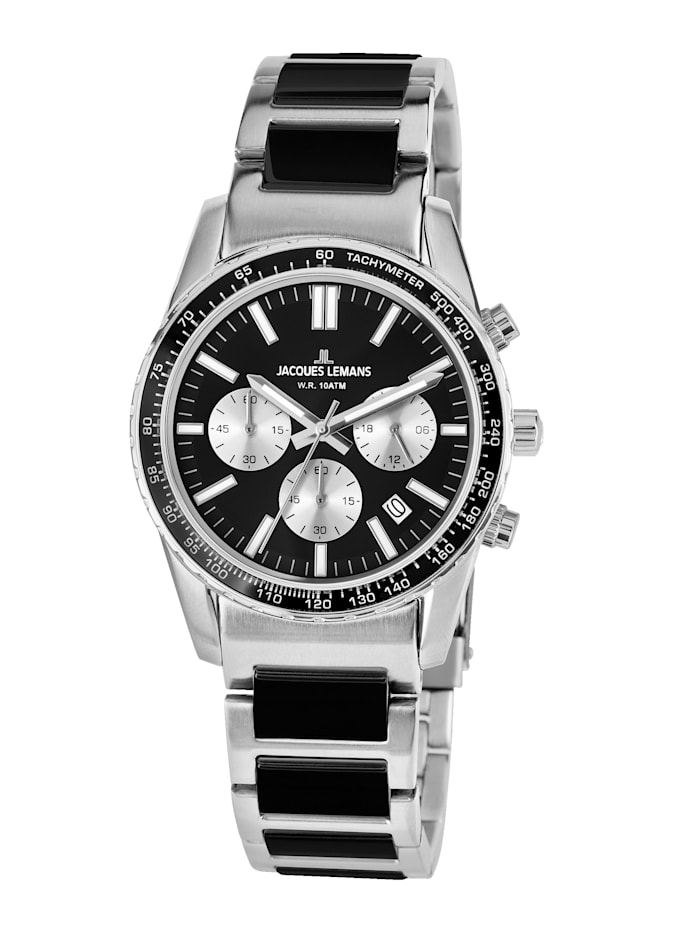 Jacques Lemans Unisex-Uhr Chronograph Serie: Liverpool, Kollektion: Sport 1-2059G, Silberfarben/Schwarz