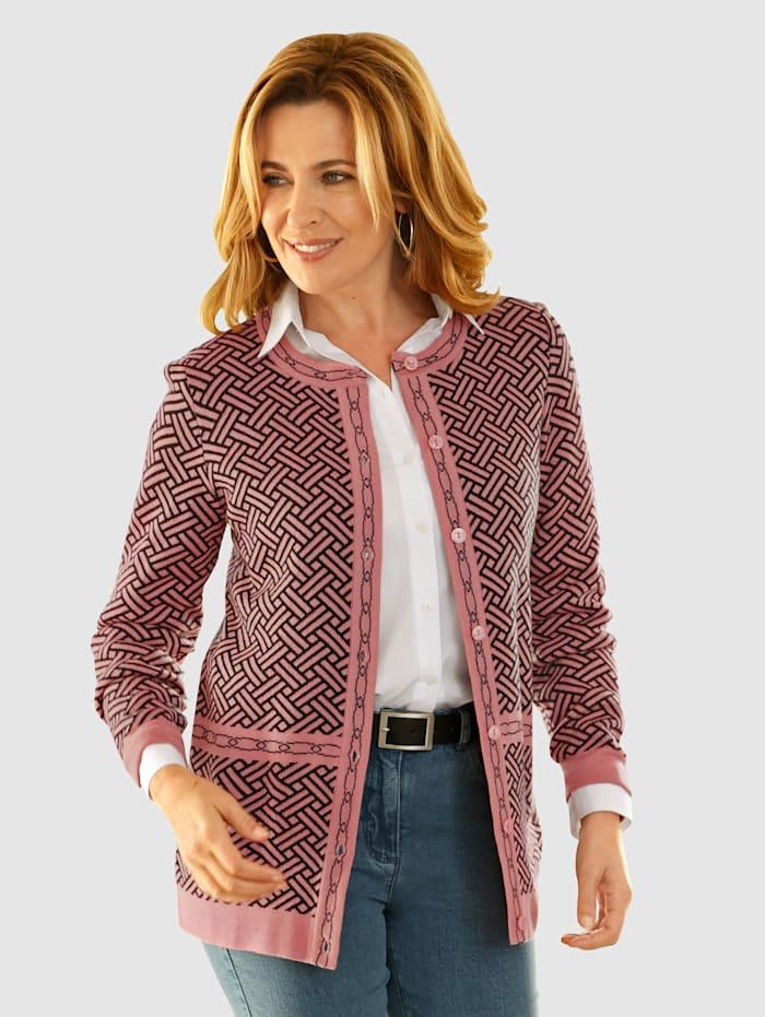 Paola Svetr s grafickým pleteným vzorem, Růžové dřevo/Černá