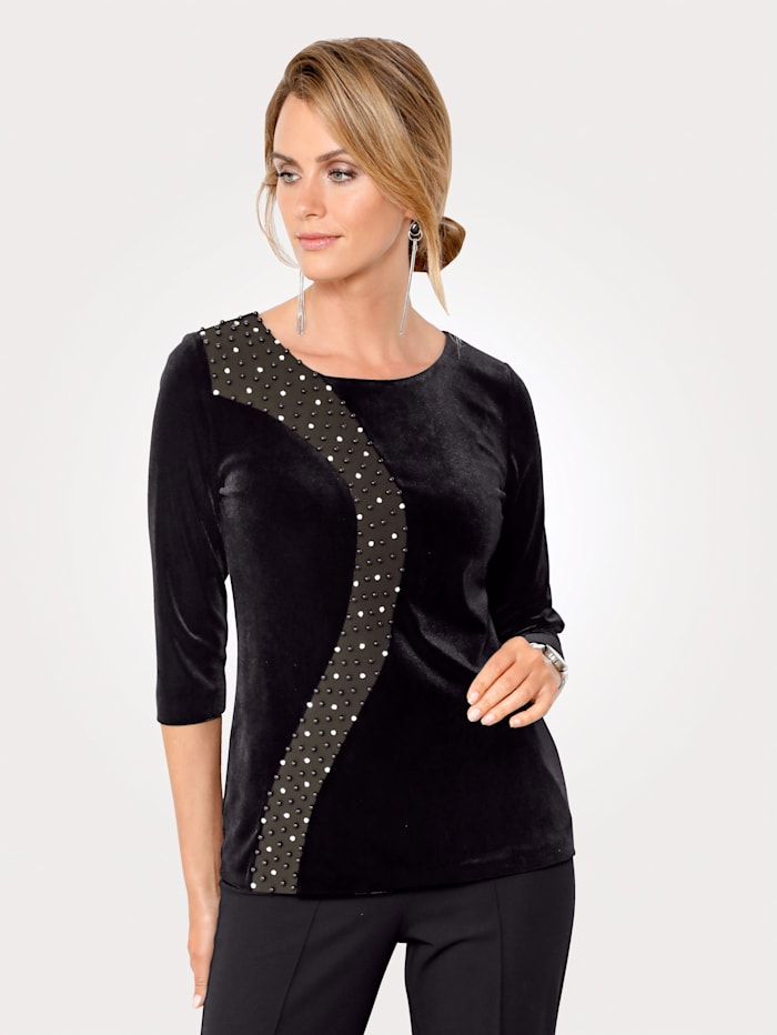 MONA T-shirt en velours avec perles et pierres fantaisie, Noir