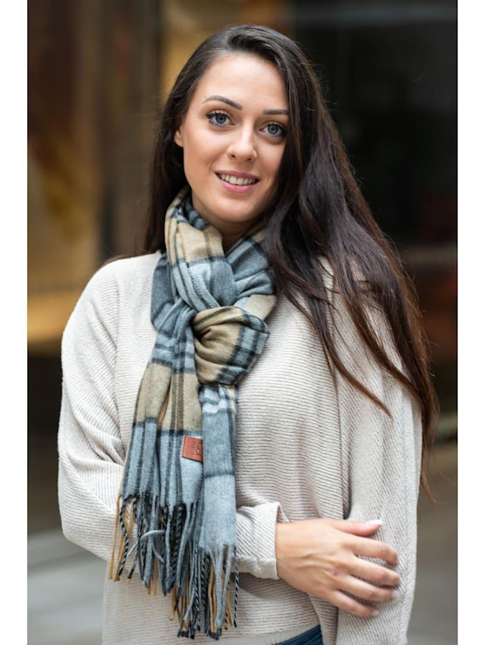 Collezione Alessandro Italienischer Schal Rom mit modernem Karo, Made in Italy, grau