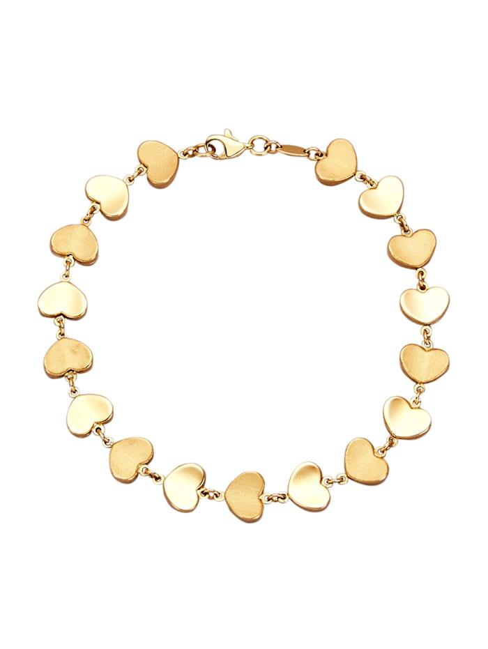 Amara Or Bracelet 'cœurs', Coloris or jaune