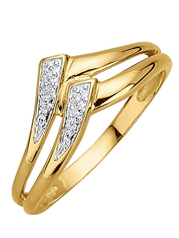KLiNGEL Damenring mit Diamant, Gelbgoldfarben