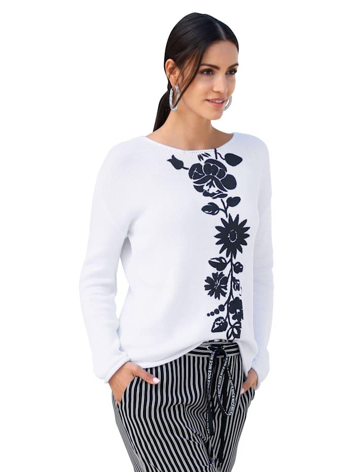 Pullover mit Blumendruck im Vorderteil