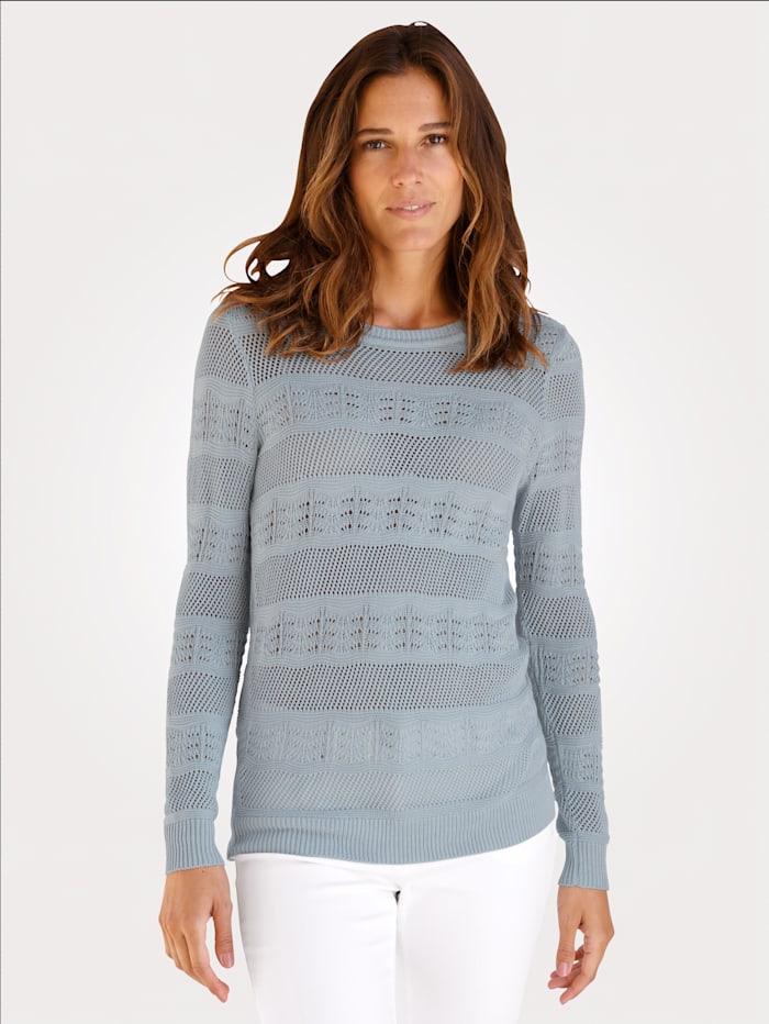 MONA Pullover aus effektvollem Ajour-Strick, Hellblau