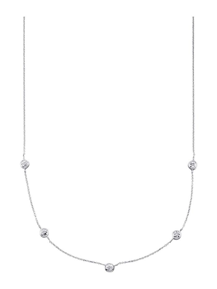 Collier mit Diamanten, Silberfarben