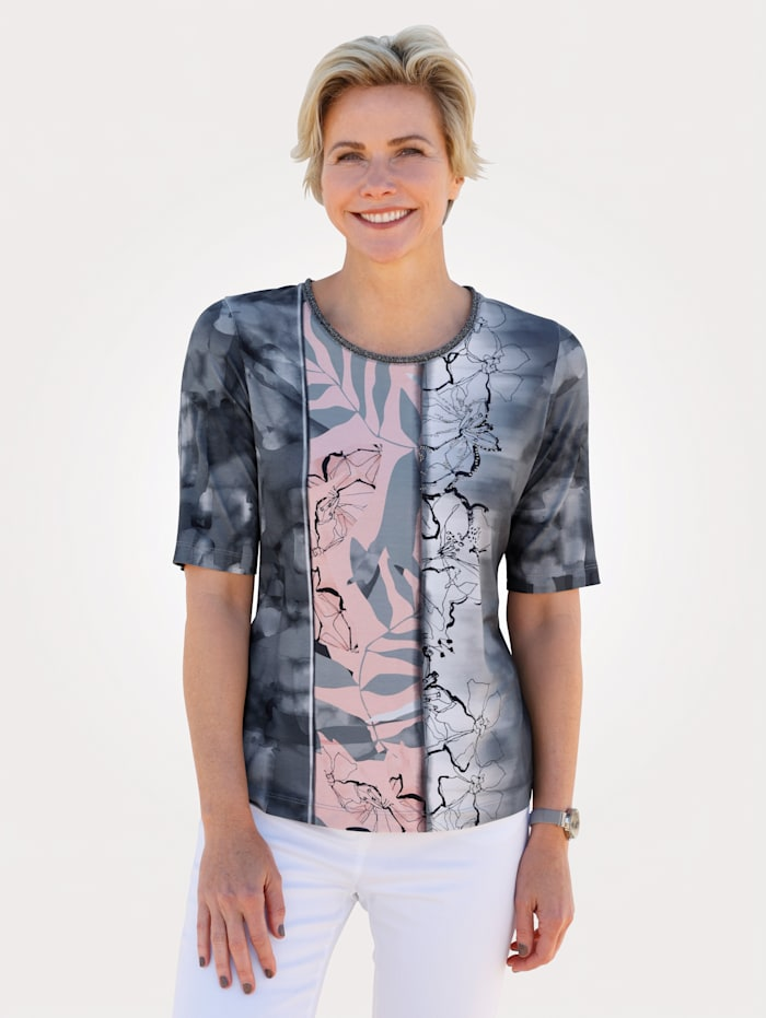 Rabe Top with a floral print, Rosé/Grey