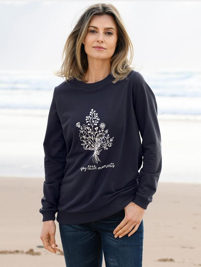 basically you Sweatshirt mit platziertem Blumendruck, Marineblau