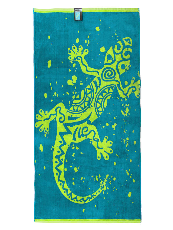 jilda-tex Strandtuch Velour 'Gecko', Grün