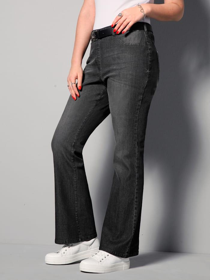 MIAMODA Jeans met uitlopende pijpen, Black stone