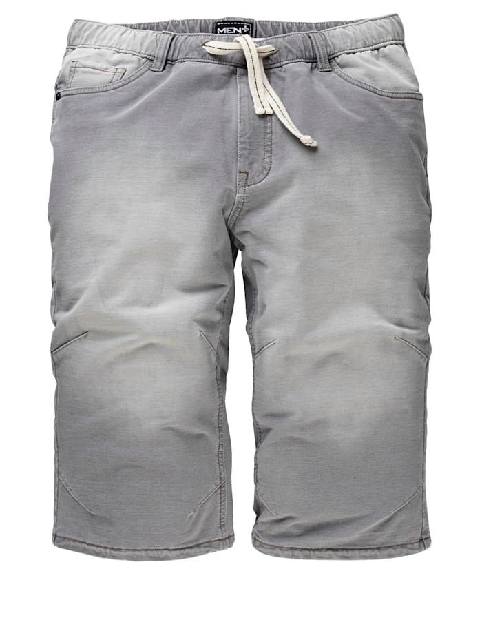 Men Plus Jogpants-Bermuda aus reiner Baumwolle, Grau