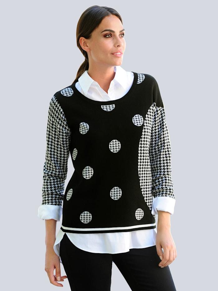 Alba Moda Pulovr s exkluzivním Alba Moda vzorem, Černá/Bílá