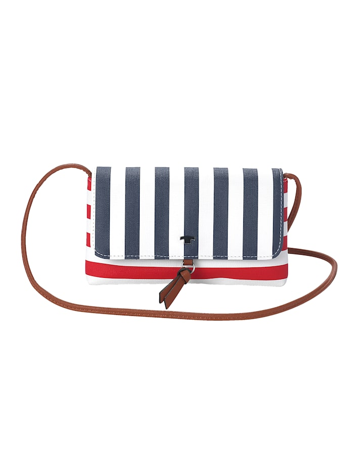 Tom Tailor Sac à bandoulière au look rayé maritime, Blanc/rouge/marine