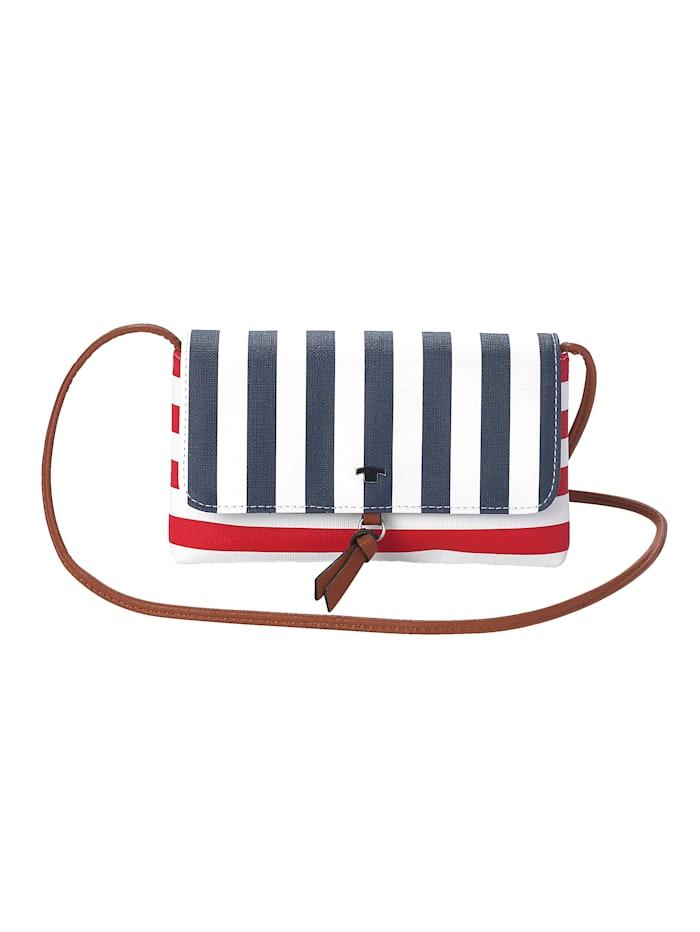 Tom Tailor Schoudertas inmaritieme stijl met strepen, wit/rood/marine