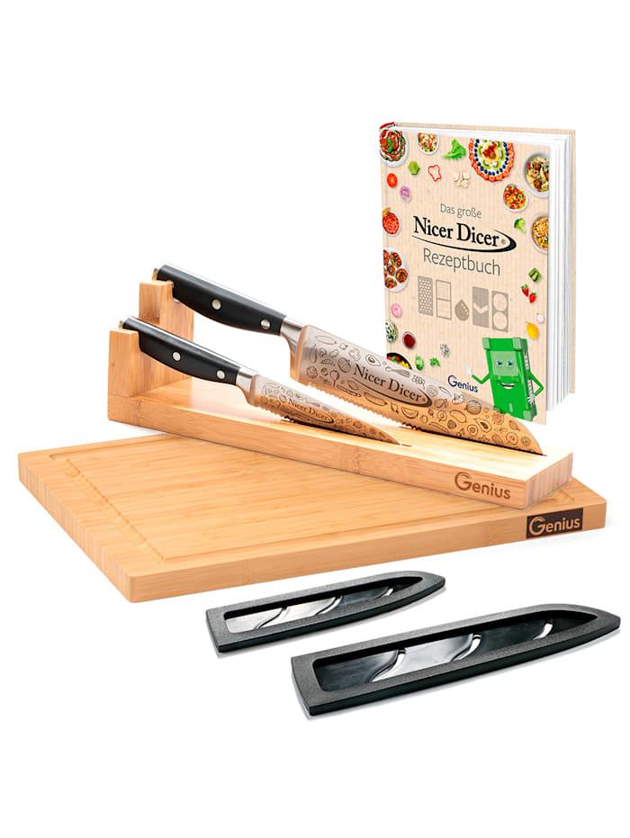Genius Genius® 7tlg. Set 'Nicer Dicer Knife Professional', Silberfarben/Schwarz/Beige