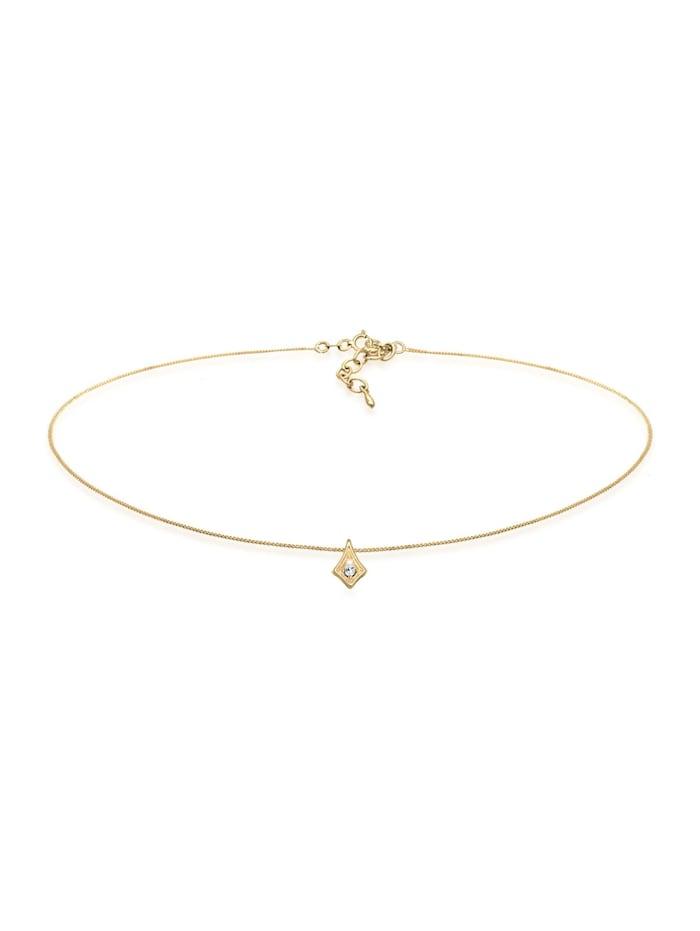 Elli Halskette Astro Choker Kristalle 925 Silber, Gold