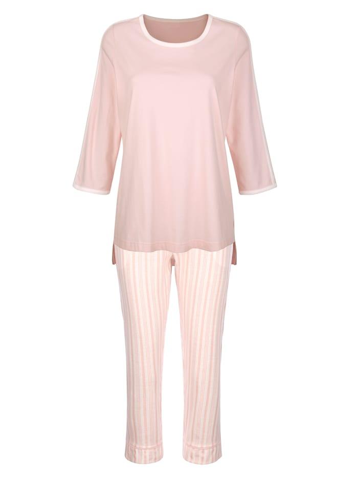 Blue Moon Pyjamas med kontrasterande kanter, Benvit/Ljusrosa