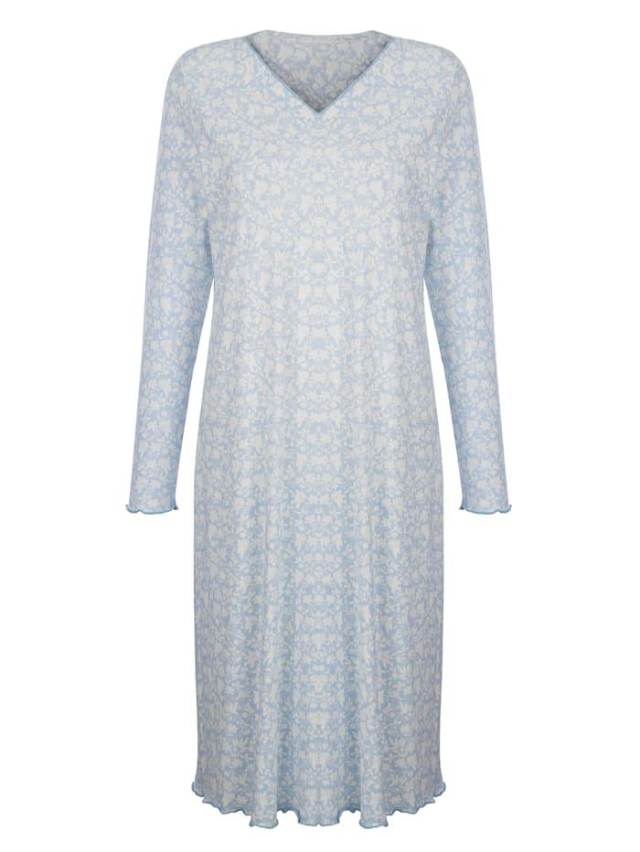 Harmony Nachthemd met contrastkleurige geschulpte zoom, Rookblauw/Ecru